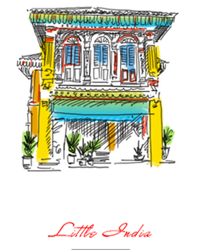 Coloured illustration of Little India